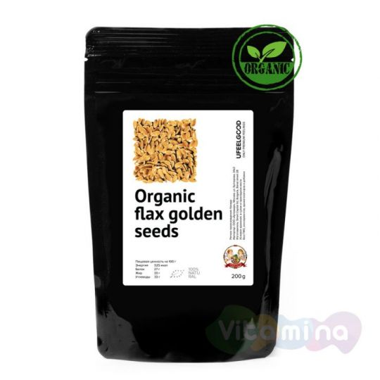 Organic Семена льна золотые (Golden flax seeds), 150 г