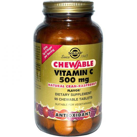 СОЛГАР Витамин С 500 с Малиновым вкусом (90 табл)